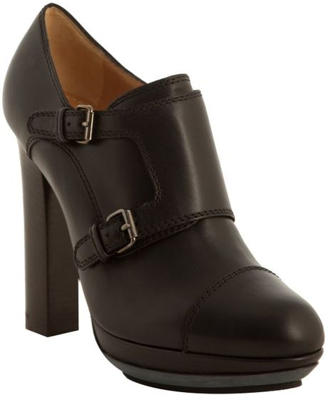 Lanvin Black Leather Double Buckle Cap Toe Booties in Black - Lyst