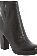 Prada Sport Black Leather Ankle Boots - Lyst