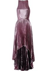 Christopher Kane Pleated Silk-blend Lamé Gown
