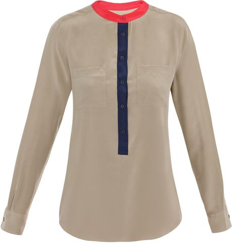 Equipment Ava Tricolour Blouse in Brown (taupe) - Lyst