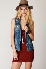 Free People Cutoff Denim Vest