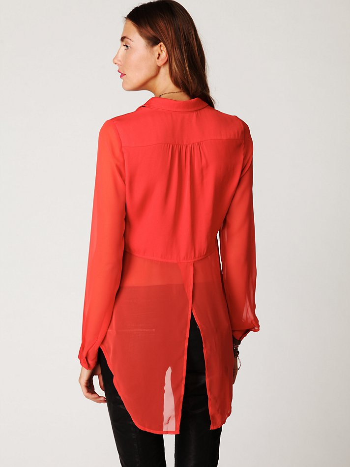 6eec9743 Free People Sheer Buttondown Tunic in Red - Lyst