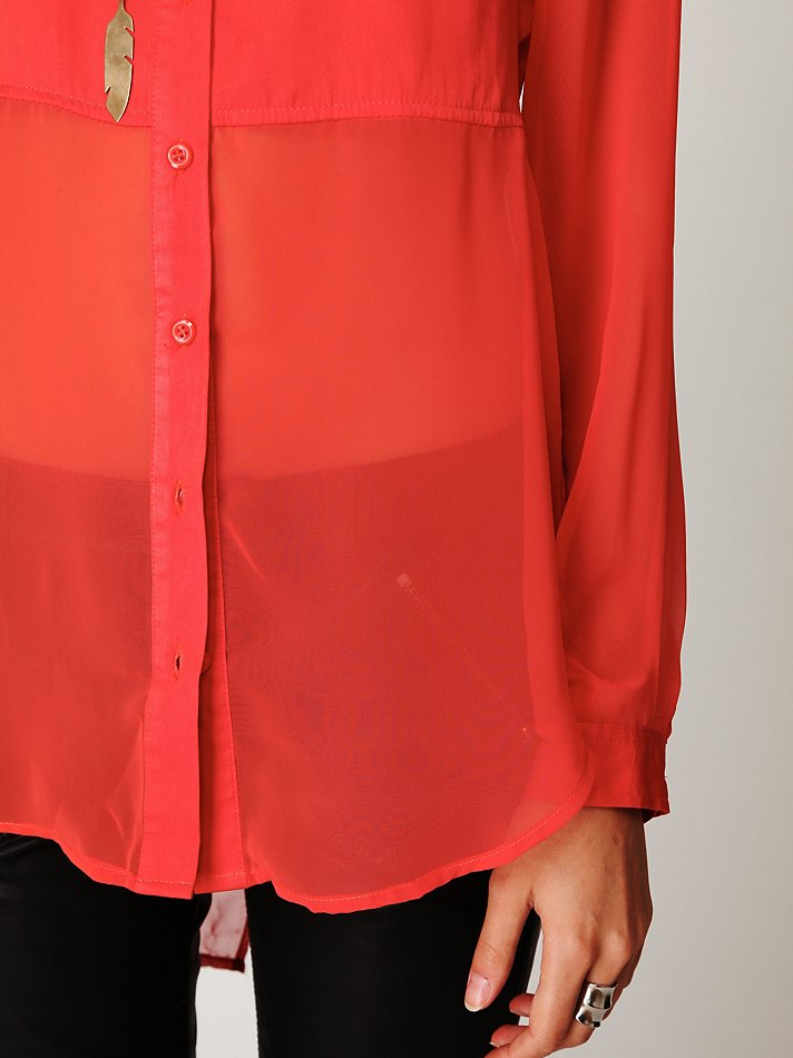 Free People Sheer Buttondown Tunic In Red Lyst