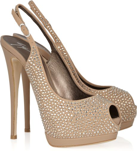 Giuseppe Zanotti Embellished Suede and Leather Slingbacks in Beige - Lyst