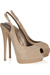 Giuseppe Zanotti Embellished Suede and Leather Slingbacks - Lyst
