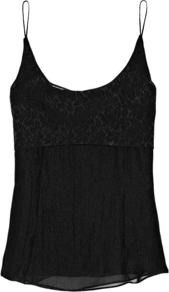 Narciso Rodriguez Silkchiffon and Glossedcloque Camisole in Black - Lyst