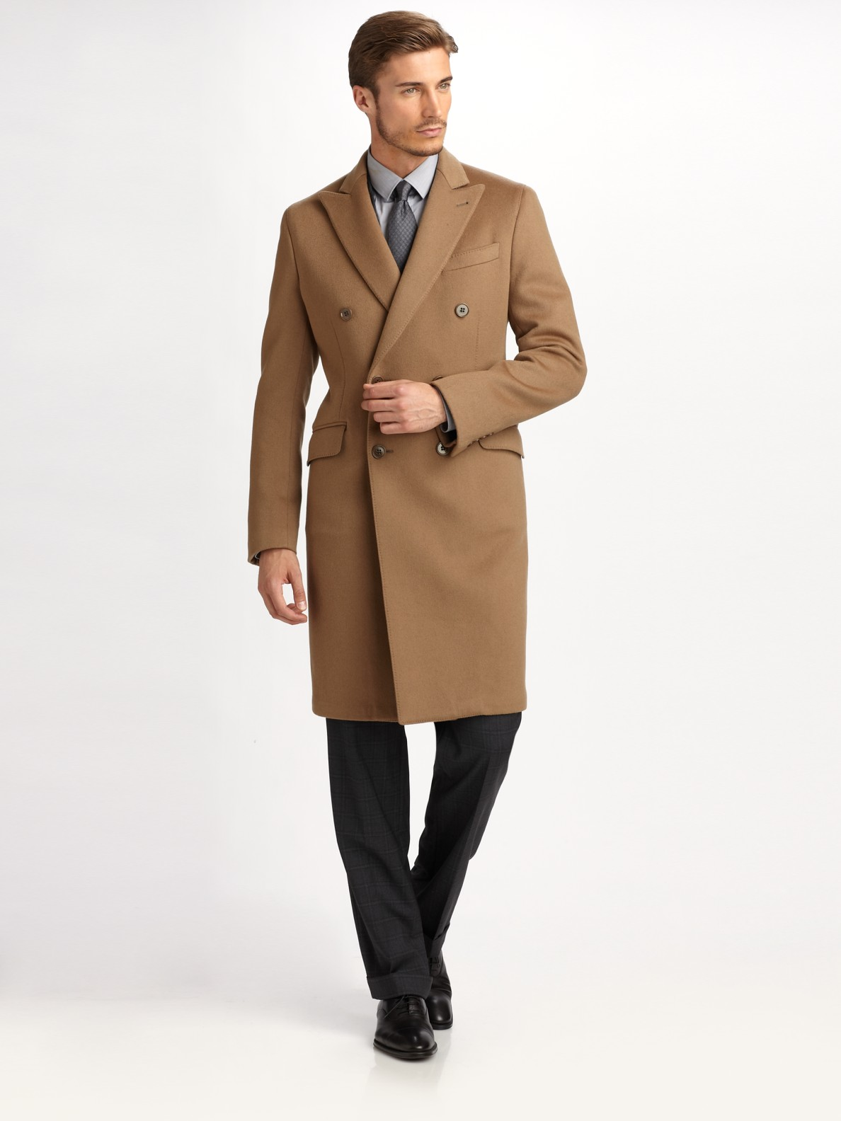 elegant and graceful provide plenty of popular brand Armani Natural Wool / Cashmere Topcoat for men