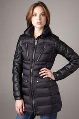 Burberry Brit Leather-sleeve Puffer Coat - Lyst