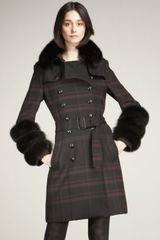 Burberry Fox-trim Check Coat - Lyst