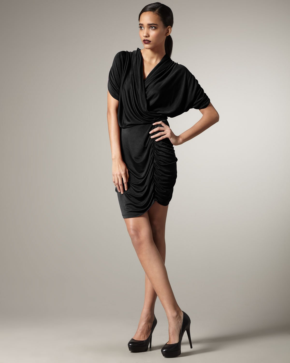 Catherine malandrino long black dress
