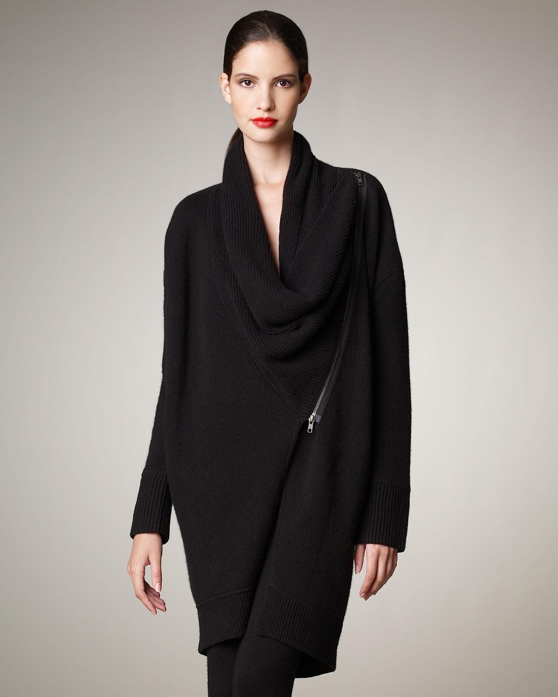 donna karan new york asymmetric cashmere coat in black lyst. Black Bedroom Furniture Sets. Home Design Ideas