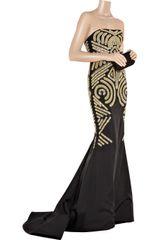 Marchesa Embellished SilkCrepe Gown in Gold (black) - Lyst