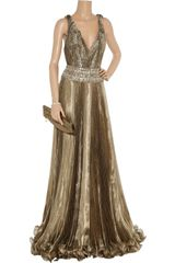 Marchesa Embellished Metallic Organza Gown in Gold - Lyst