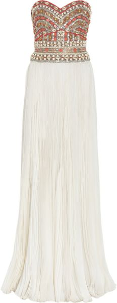 Marchesa Embellished Strapless Silk Gown in White - Lyst