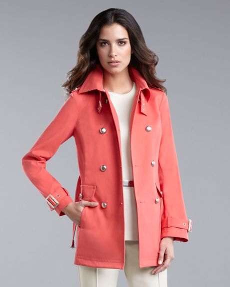 Burberry Brit Store A Milano : St john belted trenchcoat in pink coral lyst
