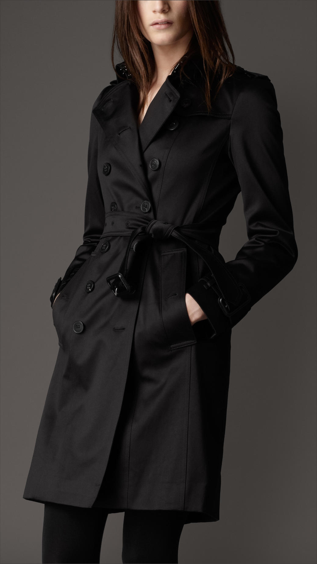 Burberry Cotton Sateen Trench Coat in Black | Lyst
