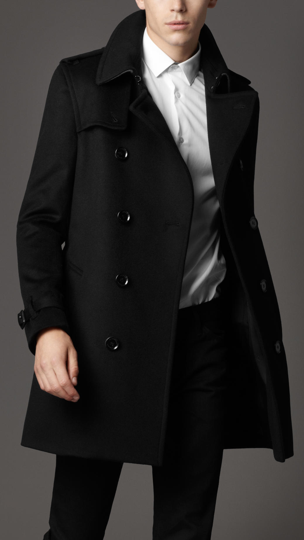 Burberry Wool Trench Coat in Black for Men | Lyst