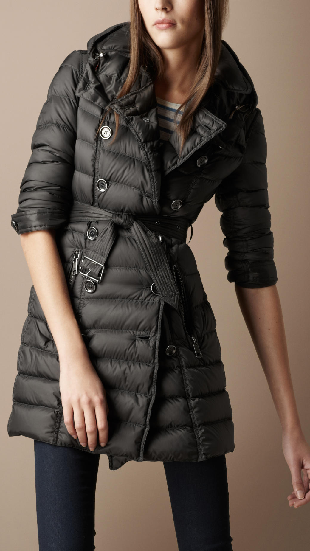 burberry brit quilted trench coat in gray lyst. Black Bedroom Furniture Sets. Home Design Ideas