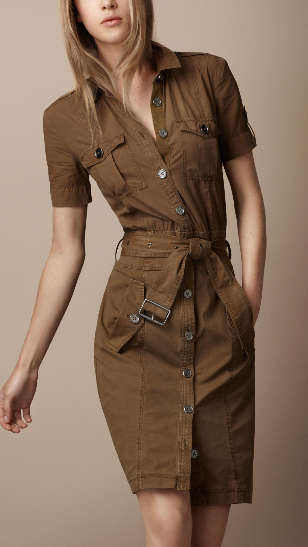 Burberry brit belted cotton shirt dress in brown khaki for Burberry brit green plaid shirt