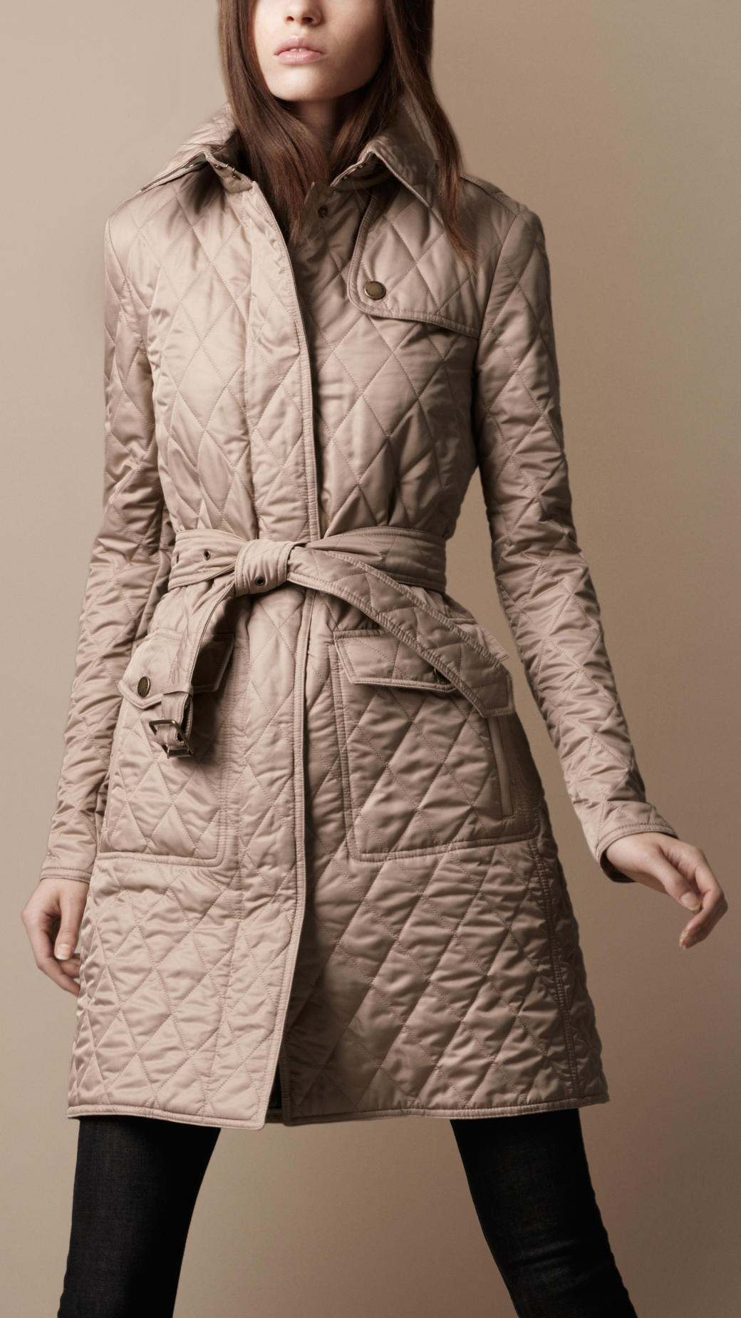Lyst Burberry Brit Quilted Trench Coat In Natural