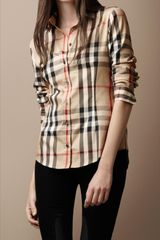 Burberry Brit Pointed Collar Check Shirt - Lyst