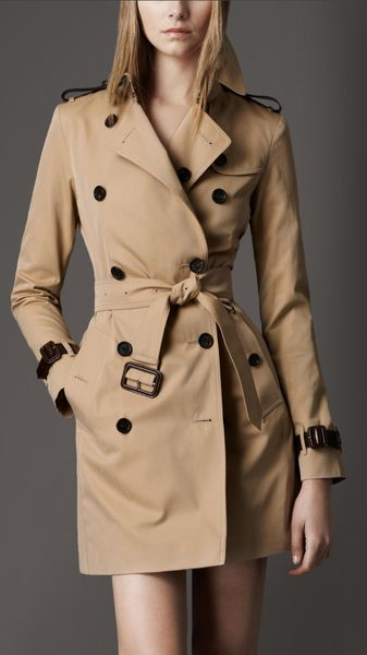 Burberry Leather Detail Trench Coat - Lyst