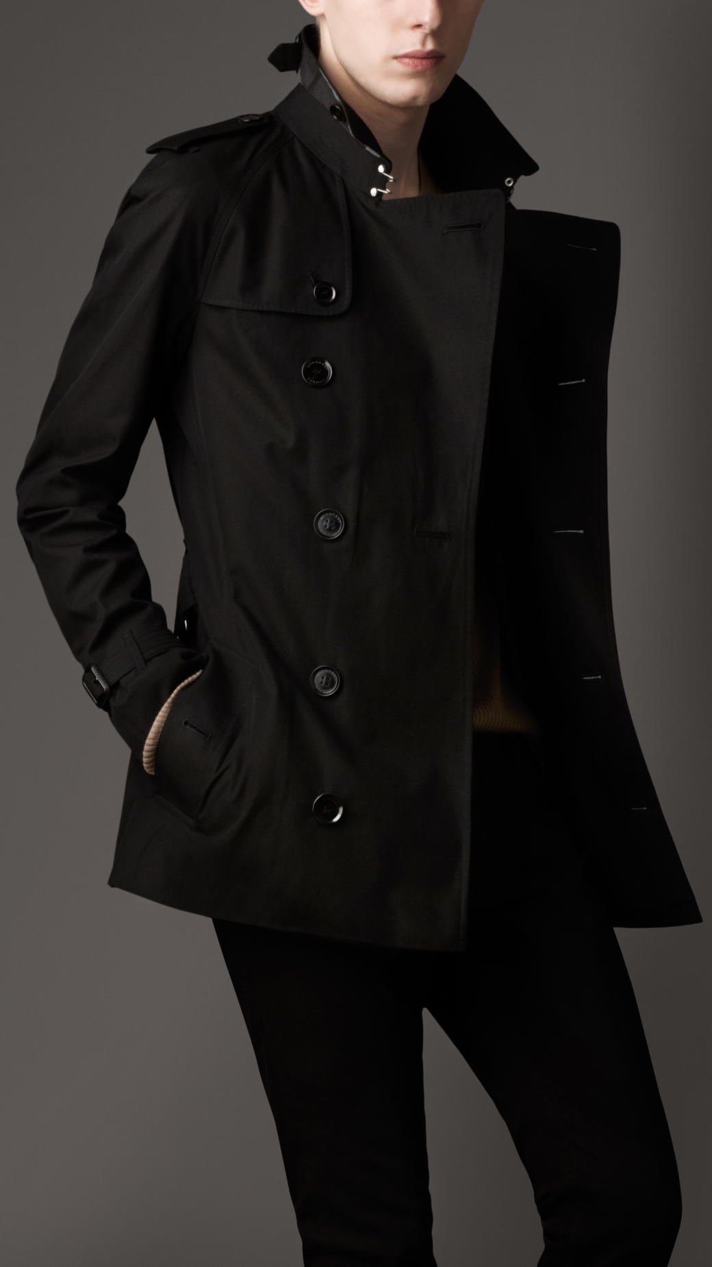 Burberry Heritage Cotton Trench Coat in Black for Men | Lyst