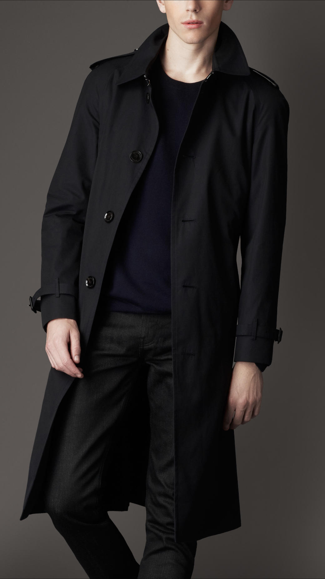 Burberry Heritage Cotton Trench Coat in Blue for Men | Lyst