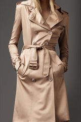 Burberry Silk Satin Trench Coat - Lyst