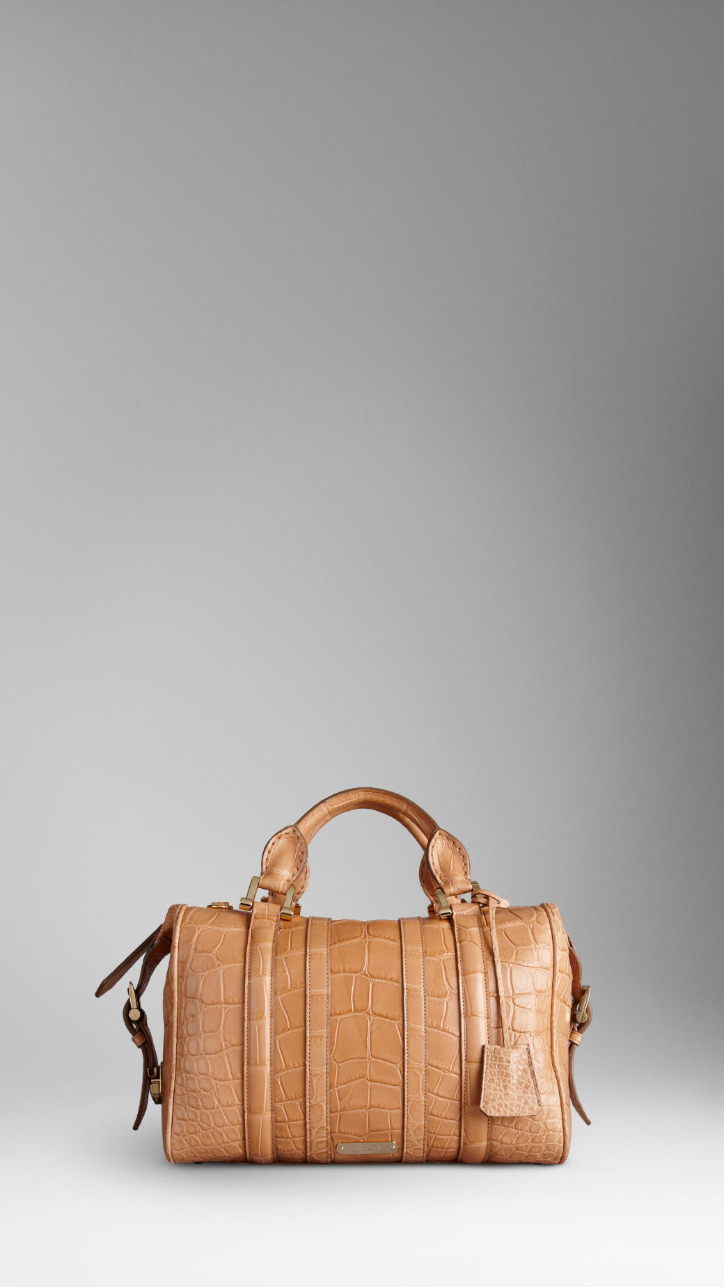 36922bd7456a Lyst - Burberry Medium Alligator Leather Bowling Bag in Brown