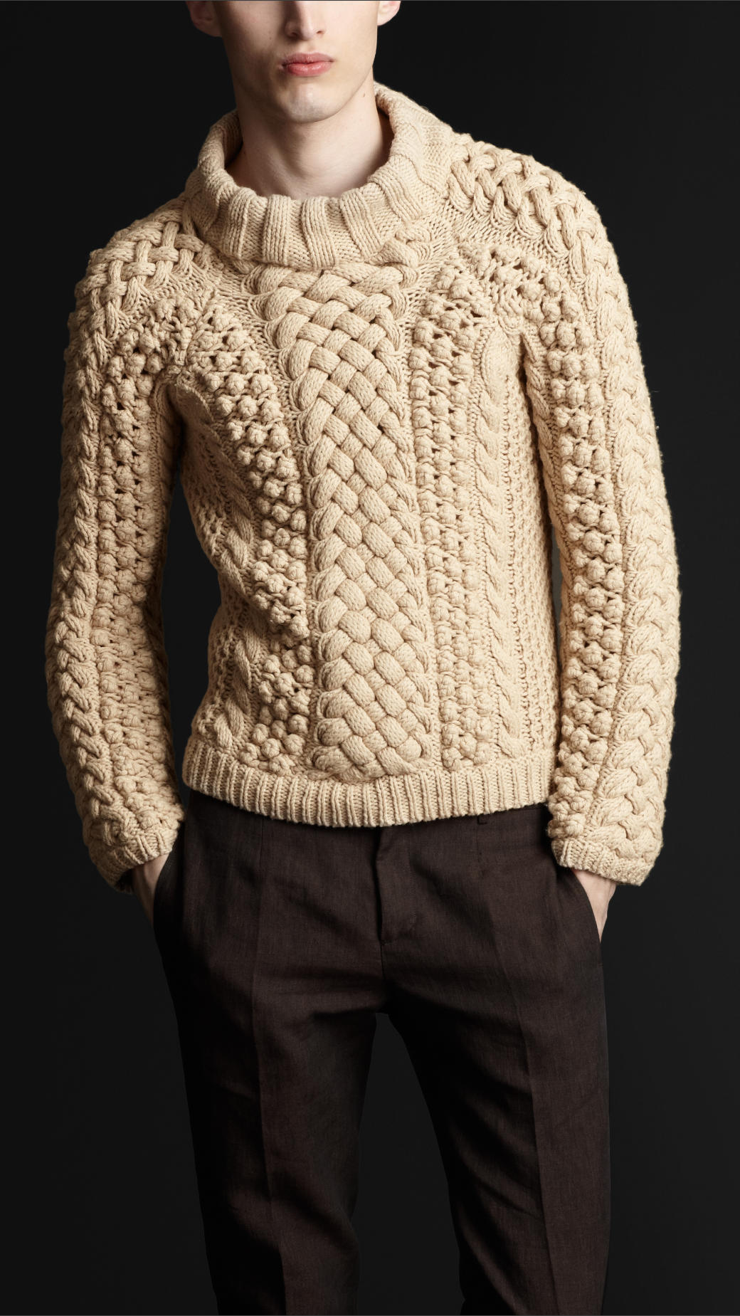 Burberry Prorsum Chunky Cable Knit Sweater In Natural For