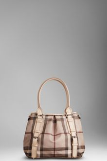 Burberry Small Smoked Check Tote Bag - Lyst