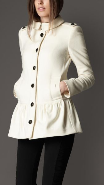 Burberry Peplum Skirt Coat In White Winter White Lyst