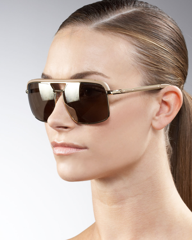Dior Gold Frame Sunglasses : Dior Leather-trimmed Aviator Sunglasses in Metallic Lyst