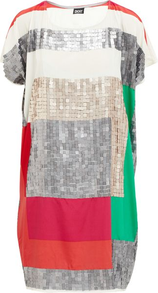 Dkny Short Sleeve Sequin Shift Dress in Multicolor (multicoloured) - Lyst