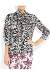 Gucci AnimalPrint Cotton And SilkBlend Blouse in Animal - Lyst