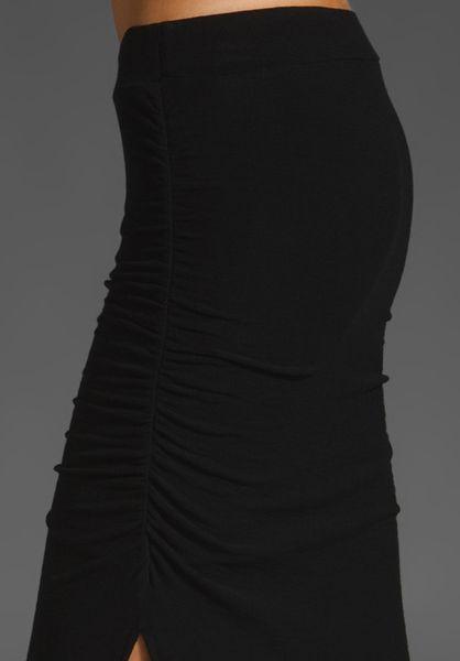 James Perse Long Side Split Skirt In Black Lyst