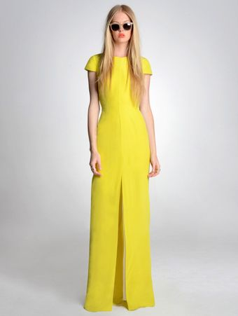 Jenni Kayne Cap Sleeve Yellow Gown - Lyst