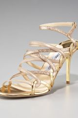 Jimmy Choo Tri-shine Strappy Sandal, Gold - Lyst