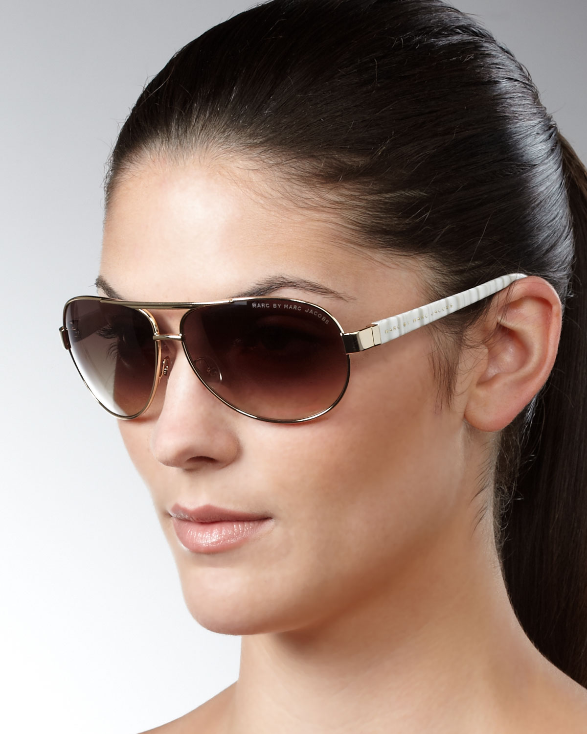 Marc Jacobs Aviator Sunglasses  marc by marc jacobs aviator sunglasses gray stripes in brown lyst