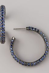 M.c.l By Matthew Campbell Laurenza Pave Sapphire Hoop Earrings, Small - Lyst