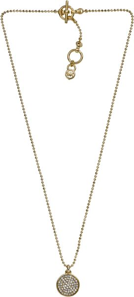 Michael Kors Pave Disc Necklace, Golden in Silver (one size)