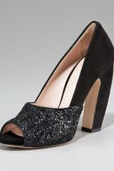 Miu Miu Glittered Open-Toe Pump - Lyst