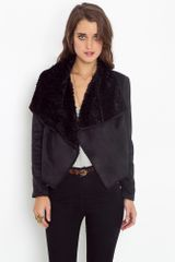 Nasty Gal Shearling Drape Jacket - Black