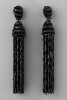 Oscar de la Renta Beaded Tassel Earrings, Black - Lyst
