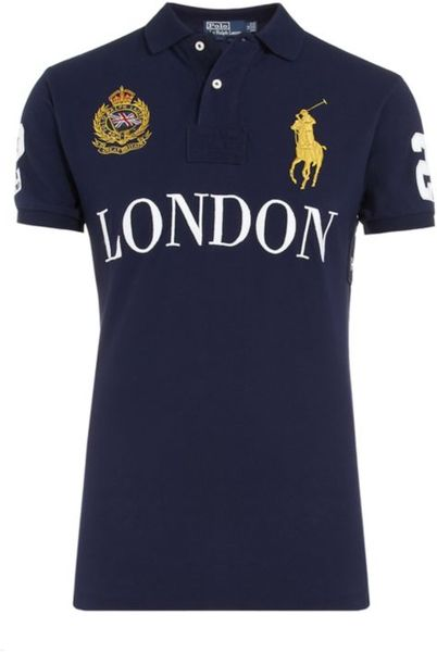 polo ralph lauren london custom fit polo shirt in blue for
