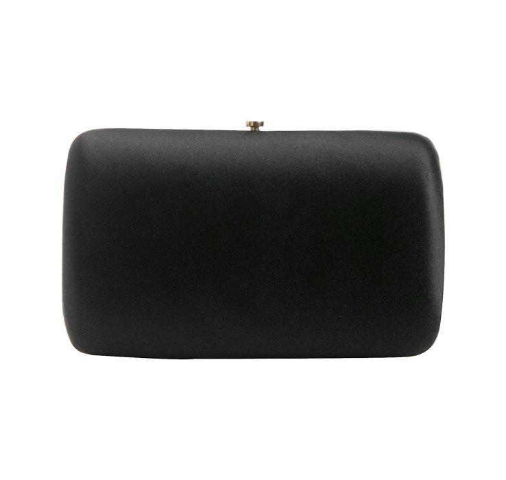 Prada Black Satin Box Clutch in Black | Lyst
