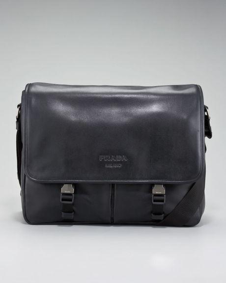 pink and purple prada sneakers - Prada Soft Leather Messenger Bag in Black for Men | Lyst