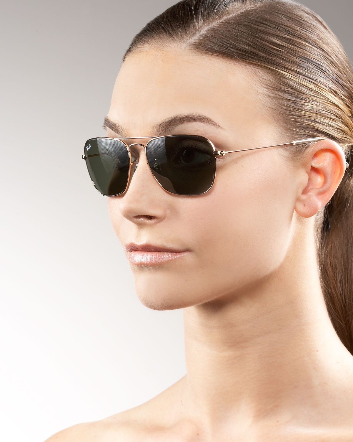 9a675bcac0 ... hot lyst ray ban caravan aviator sunglasses in metallic 1295f 5c7df