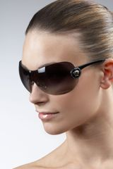 Versace Logo-temple Shield Sunglasses - Lyst